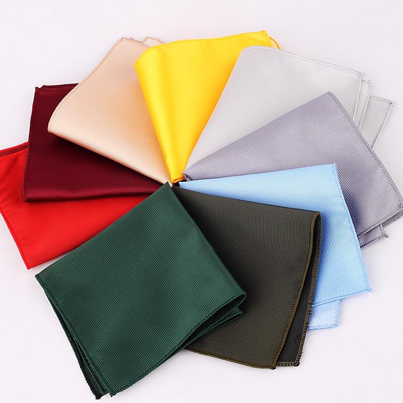 Luxury Solid Colors Men Hankerchief Scarves Vintage Polyester Paisley Hankies Men's Pocket Square Handkerchiefs Chest Towel