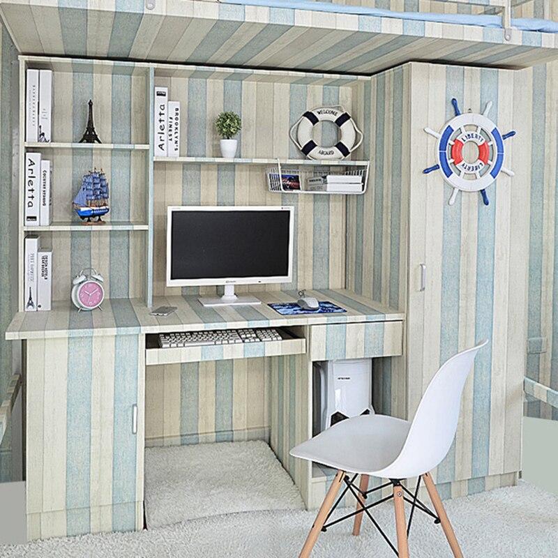 Купить с кэшбэком 5 /10M Self adhesive Wood Grain Wallpaper Waterproof Old Furniture Vinyl Stickers Wooden Door Wardrobe Desktop PVC Wall papers
