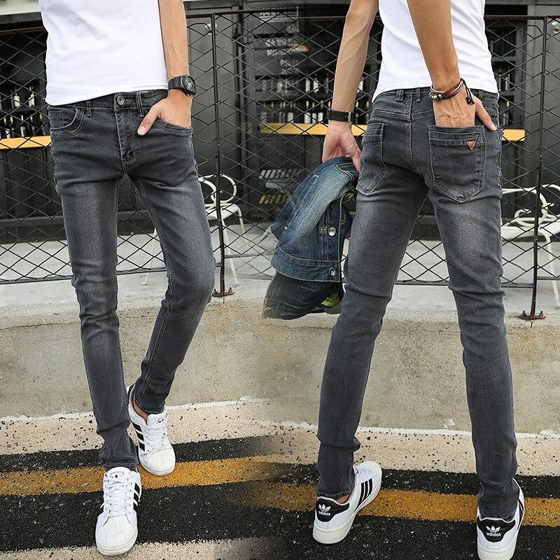 Elasticity Jeans Men's Slim Fit Korean-style Men's Trousers Four Seasons Dark Gray Elastic Trend Skinny Men Youth Light Color Pa