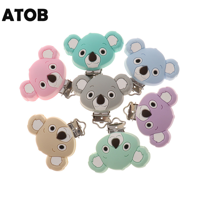 ATOB 10PCS Silicone Koala Clips Silicone Baby Clip Pacifier Dummy Chain Holder Soother Nursing Jewelry Toy Clips BPA Free