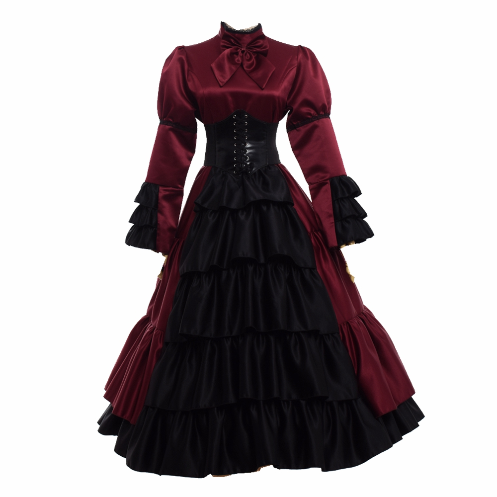 Vintag Victorian Dress Women Halloween Party Gothic Royal Long Sleeve Corset Bustle Ball Gown Costumes(China)