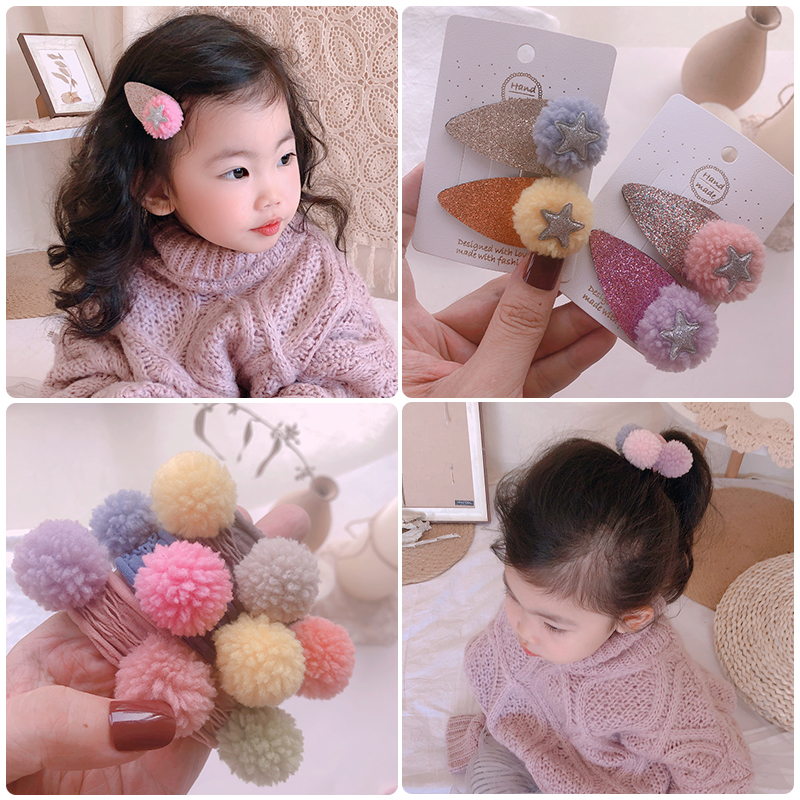 Autumn And Winter Girls Cute Hairball Headbands Hairpins Faux Fur Children Soft Barrettes Hair Clips Colors Kid Hair Accessories