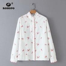ROHOPO Overlocked Round Collar & Cuff Elbroidery Floral White Blouse Long Sleeve Ladies Retro Top Shirt #1331 недорого