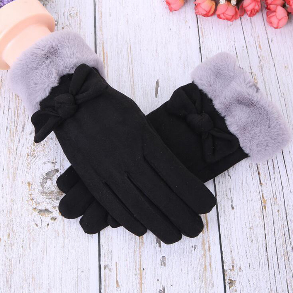 Fashion Women Bowknot Winter Warm Gloves Mittens Touch Screen Bow Tie Gloves