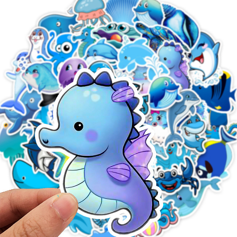 49PCS/set Blue Ocean Cartoon Marine Animal FISH Doodle Stickers for Laptop TV Fridge Bicycle Waterproof Decal Toy for Kids