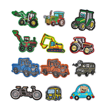 Excavator Engineering Car I Ride Embroidered Cloth Stickers Clothing Accessories Badge Patch Stickers image