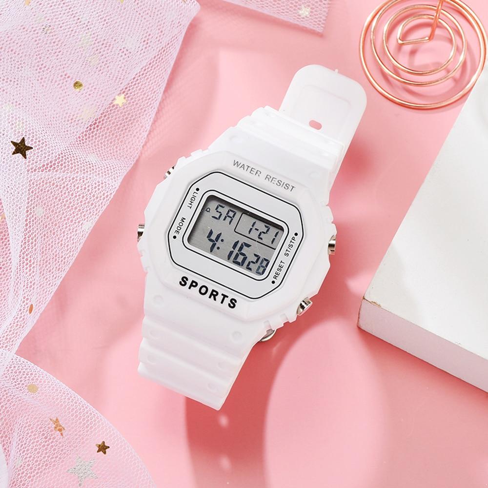 Fashion Men Women Casual Sports Watches Outdoor Led Kids Watch Waterproof Boy Girl Wristwatch Square Watch Gift Montre Femme