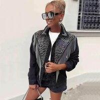 Women denim jacket metal winter jacket women stud streetwear womens jackets and coats winter coat