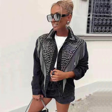 Women denim jacket metal winter jacket women stud streetwear womens jackets and coats winter coat(China)