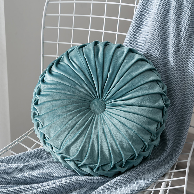 Newest-Home-Textile-Velvet-Pleated-Round-Solid-Color-Cushion-Pouf-Throw-Home-Soft-Cushion 7