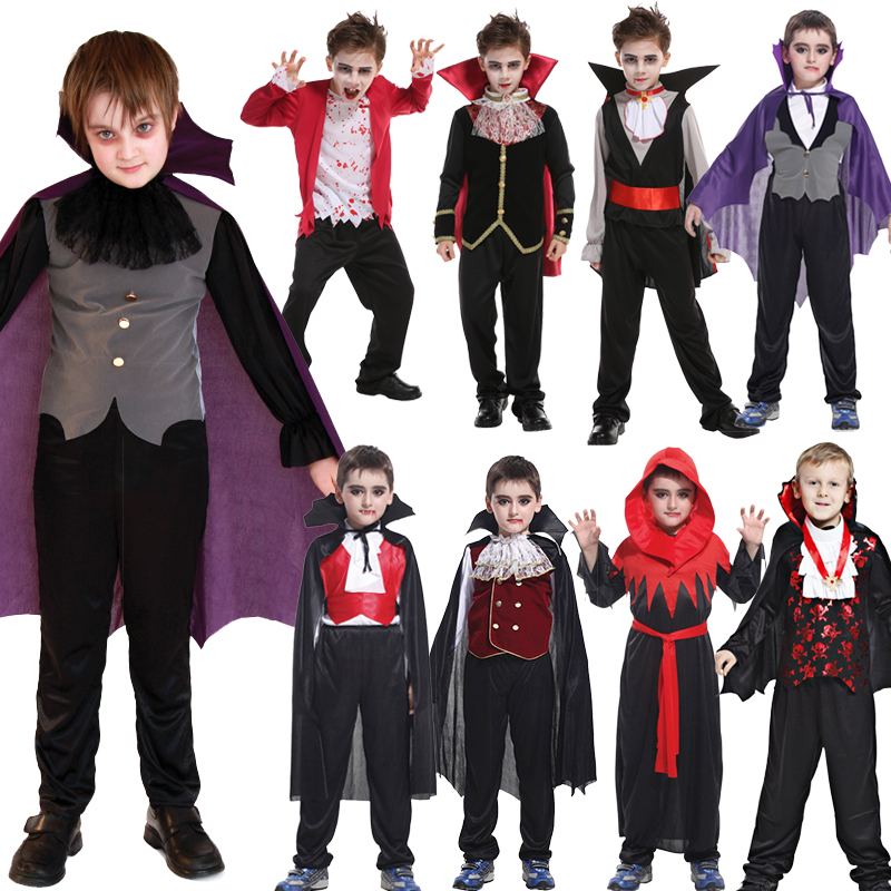 Free Shipping Halloween Purim Holiday Carnival Party Bat Vampire Costumes For Boy Girl Short Fantasia Infantil Cosplay Costume