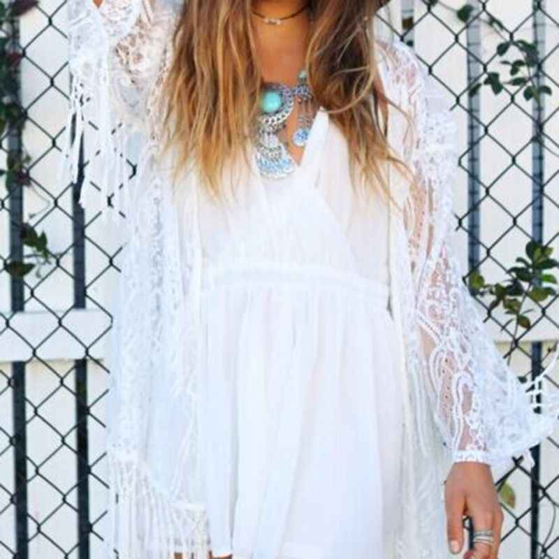 מוצק לבן שחור נשים Boho קימונו קרדיגן קיץ חוף תחרה סרוגה שיפון Loose להאריך ימים יותר בציר חולצה חולצות בתוספת גודל