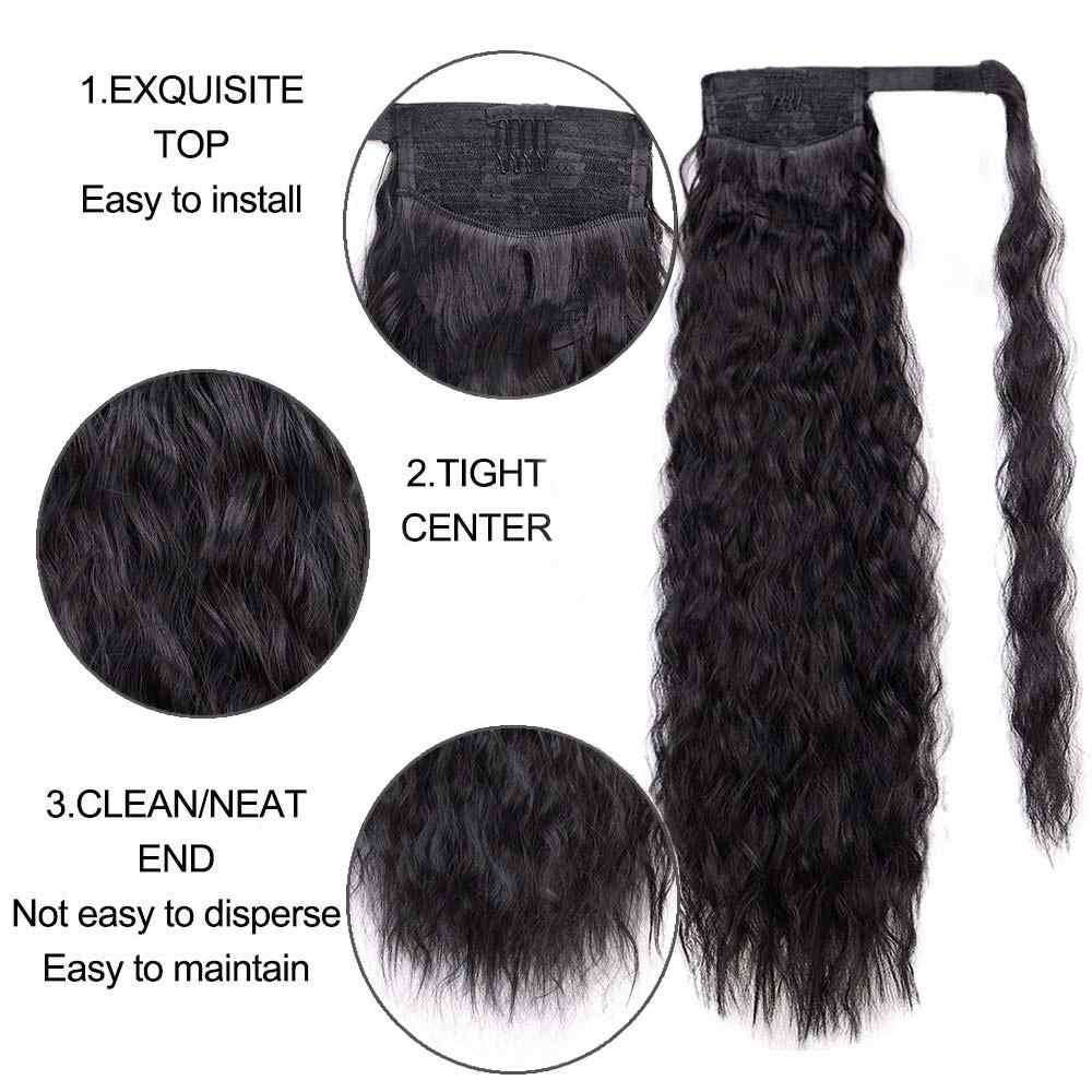 Synthetic Long Corn Wave Magic Paste Ponytail Extension Clip in Claw Hair Extensions Hairpieces For Women Dark Brown Color
