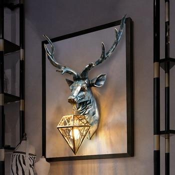 American Retro Indoor Wall Lamps Nordic Art Antlers Wall Light Deer Wall Lamp Living Room Bedroom Bedside Lamp Wall Sconce Lamp цена 2017