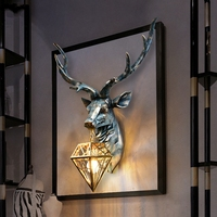 American Retro Indoor Wall Lamps Nordic Art Antlers Wall Light Deer Wall Lamp Living Room Bedroom Bedside Lamp Wall Sconce Lamp