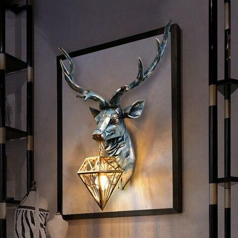 americano retro interior lampadas de parede nordic arte chifres luz parede veado lampada de parede
