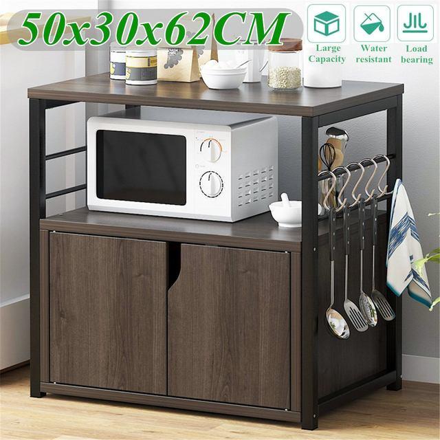 2 Tiers Wooden Kitchen Microwave Oven Shelf with Cabinet Bookshelf Iron Art Kitchenware Organizer Storage Shelf Stand Rack