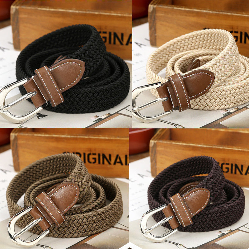 Brand New Men's Fashion Stretch Braided Elastic Woven Canvas Buckle Belt Waistband Waist Straps Weaving Belt Unisex