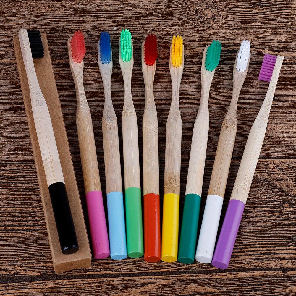 Экологичная бамбуковая зубная щетка средней твердости круглая деревянная ручка биоразлагаемая уход за полостью рта для взрослых зубная ще...