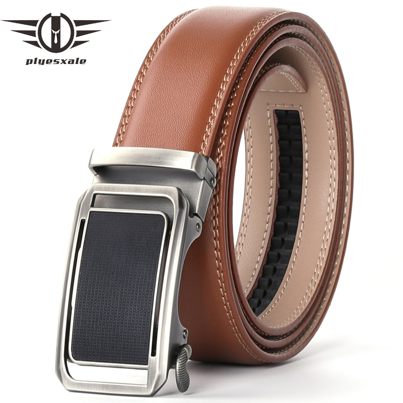 Plyesxale Automatic Buckle Mens Belt Leather Brown Black Coffee High Quality Men Dress Belt Luxury Ceinture Marron Homme B78