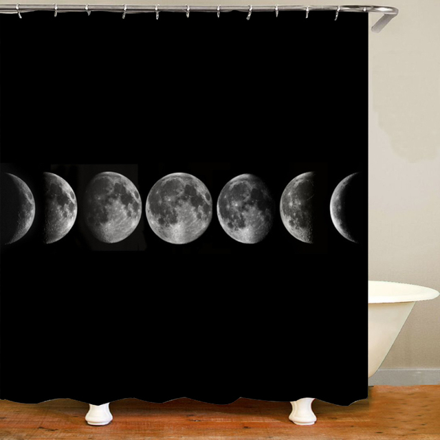 cool 3d moon phases bathroom shower curtain set space lunar phase poster bath mat rug carpet for toilet kid room home decor gift