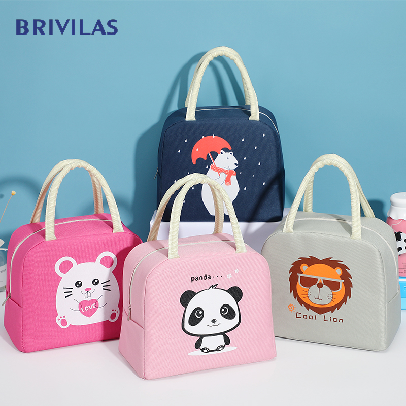 Brivilas cartoon panda lunch bag kids women cute portable travel picnic bags waterproof insulation school breakfast cooler bag