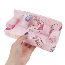 Кукольный домик, маленький цветочный тканевый диван, набор мебели с 2 подушками, аксессуары для кукол, 20 см * 7,5 см * 9 см