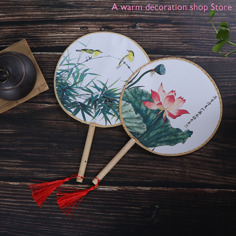 Chinese Style Round Hand Held Folding Silk Fan For Wedding Event Party Supplies