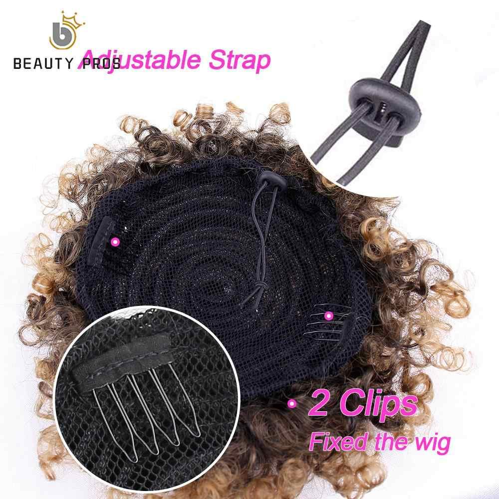 Beauty Voors Synthetische Korte Afro Kinky Trekkoord Paardenstaart Hoge Temperatuur Pony Tail Clip In Hair Extension Puff Haar Broodje 1pc