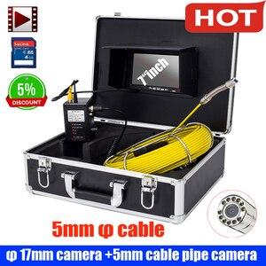 Камера для проверки канализационных труб, водонепроницаемая камера IP68 CCD600 TVL, светодиодный экран 7 дюймов, 17 мм, 9 шт.