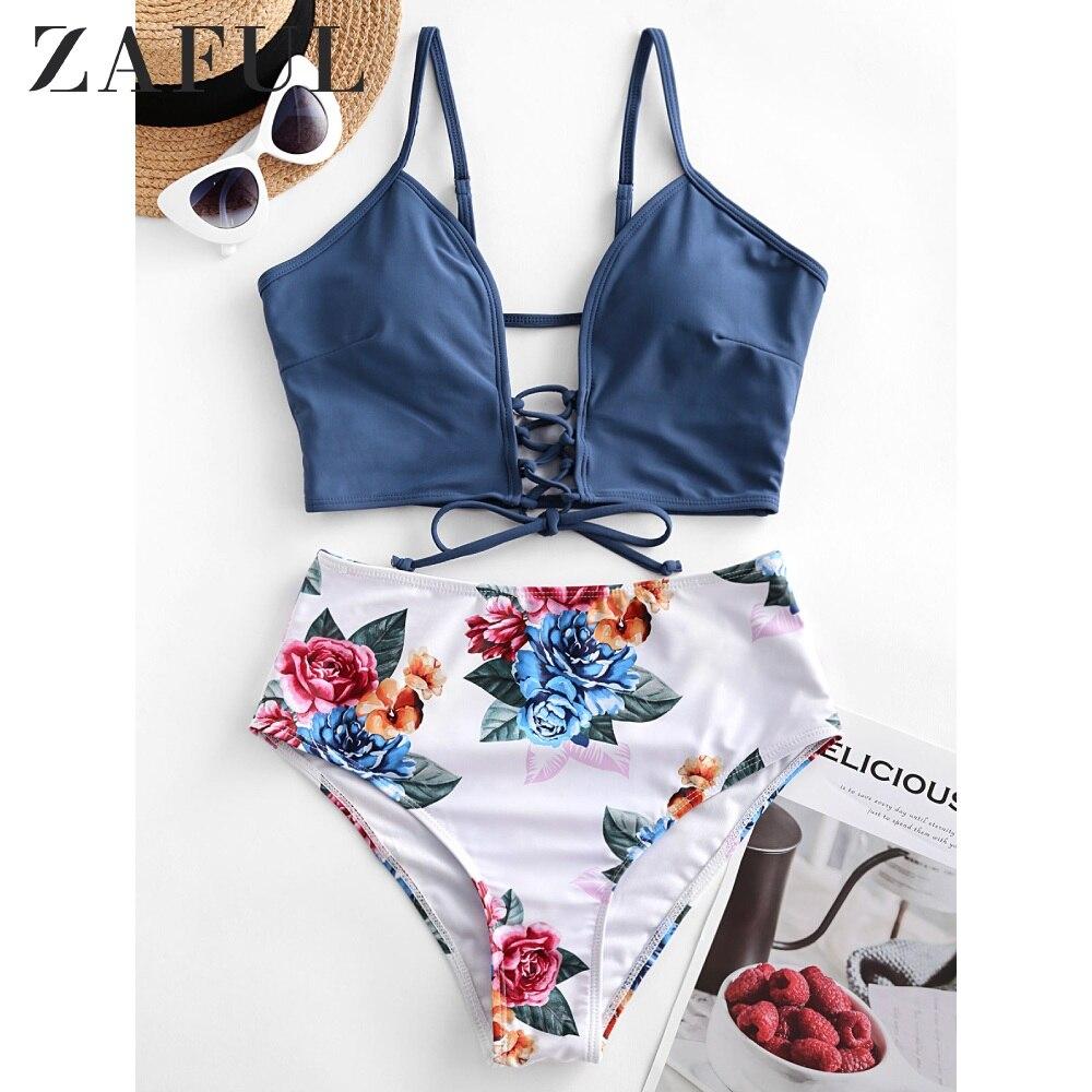 ZAFUL Bikini Swimwears Women Bikini Lace-Up Floral Leaf High Waisted Tankini Swimsuit 2020 Lace Up Bikinis Set