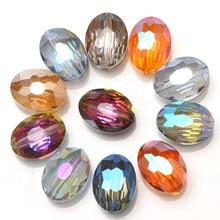 Zhubi 10 pces 16x20mm cristal chapeado grânulos encantos ofícios bovinos olhos forma vidro contas ovais pedra para diy joias que faz fornecedor