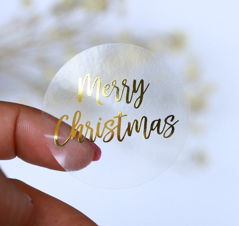 Round Clear Merry Christmas Stickers 500pcs Thank You Card Box Package Label Sealing Stickers Wedding Decor Stationery Sticker
