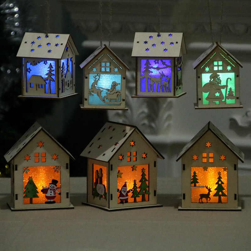 Festival Lampu LED Rumah Kayu Pohon Natal Dekorasi untuk Rumah Gantung Ornamen Liburan Bagus Xmas Hadiah Pernikahan Navidad 2020