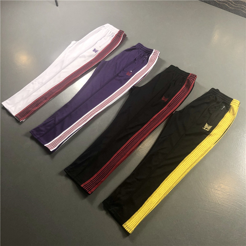 Men Women Sweatpants Needles AWGE Pants Autumn Winter Newest Butterfly Embroidered Ribbon Pants Colors Style AWGE Trousers
