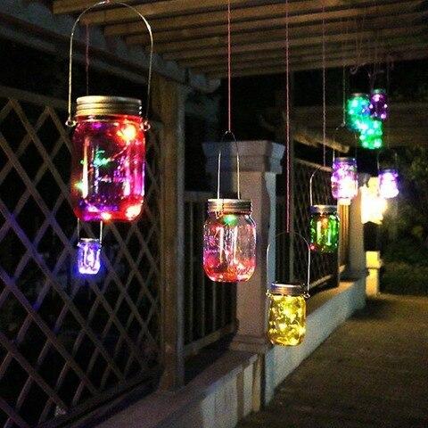 6 pacote de luz de fadas led solar mason jar tampa luzes cor mudando decoracao