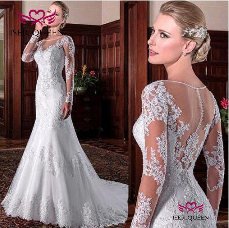 Sheer Neck Long Sleeve Appliques Mermaid Wedding Dress  Embroidery Court Train White Brazil Vintage Wedding Dresses W0023