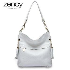 Image 2 - Zency 100% натуральная кожа, Очаровательная женская сумка на плечо с кисточкой, модная женская сумка мессенджер через плечо, сумочка черного и белого цвета