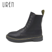 Liren 2019 Spring/Autumn PU New Women Fashion Sexy Ankle Lace-up Boots Round Toe Low Flat Heels Women Comfortable Boots liren 2019 spring autumn fashion casual women boots lace up round toe flat heels ankle flat med high heels comfortable boots