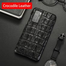 Naturalny krokodyl skórzany futerał na telefon dla Huawei P20 P30 P40 Honor 9X Mate 10 20 30 Lite 40 Pro Plus Nova 5T aligator tylna okładka tanie tanio CN (pochodzenie) Częściowo przysłonięte etui Crocodile Genuine Leather Zwykły Zwierząt wodoodporne Odporna na brud