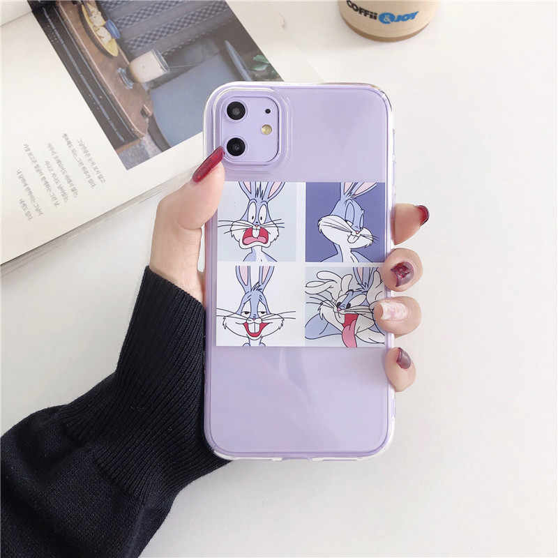 Grappige Cartoon Bugs Bunny Phone Case Voor Samsung S20 Plus A51 A50 A40 A70 A8 A5 A30 S7 S8 S9 s10 Plus Note 10 8 9 Plus Soft Cover