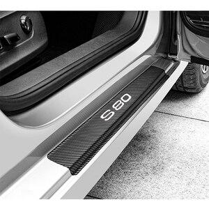 Image 3 - 4 pçs de fibra carbono adesivos porta do carro soleiras protetor porta scuff placa para volvo s80 acessórios interiores
