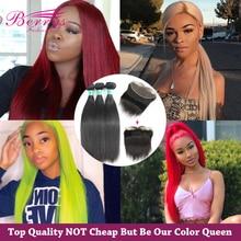 Berrys Fashion proste zestawy z 13x 4/13x6 Frontal 10 28 cali natura kolor brazylijski dziewiczy włosy nieprzetworzone ludzkie włosy wyplata
