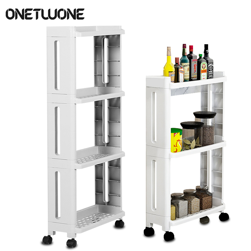 Kitchen Storage Rack For Goods Fridge Side Shelf 2/3/4 Layer Removable With Wheels Bathroom Organizer Shelf Gap Holder