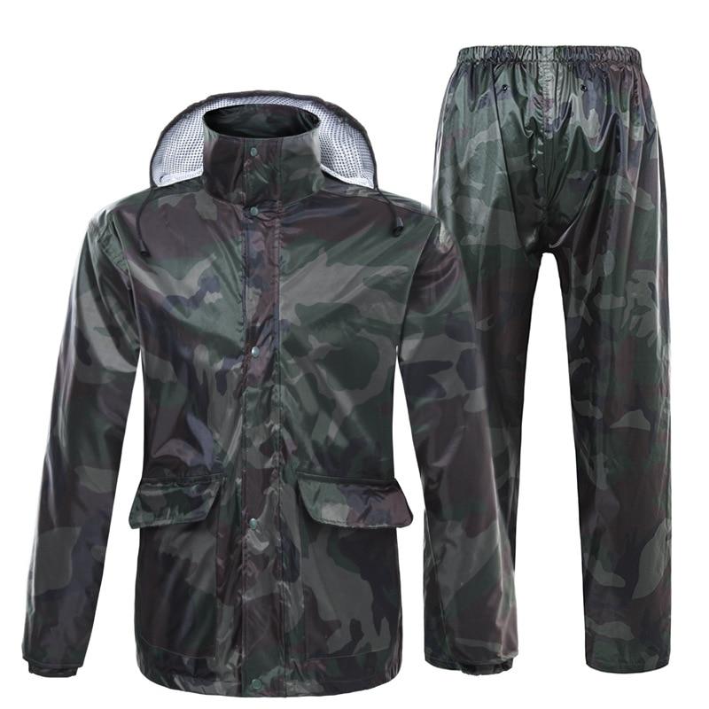two piece set pesca camuflagem calcas de chuva capa de chuva impermeavel ao ar livre ciclismo