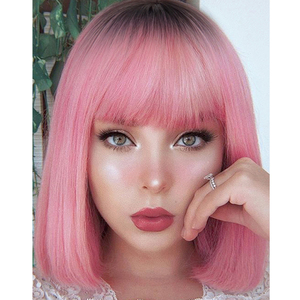 AZQUEEN Short Bob Straight Wig With Bangs for Women Synthetic Bob Wigs Black Pink Wig for Party Daily Use Shoulder Length