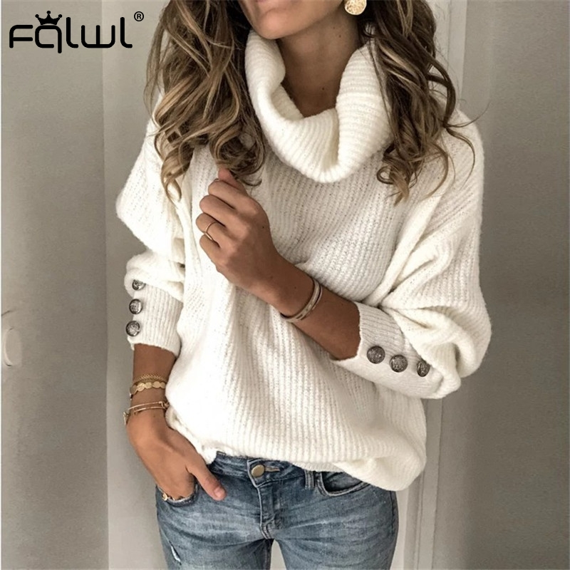 FQLWL Turtleneck Oversized Knitted Sweater Women Pullover Autumn Winter White Black Sweater Female Jumpers Casual Ladies Tops