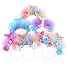 Diadema con corona de fiesta de sirena, accesorios para el cabello, accesorios para 1er fiesta de cumpleaños