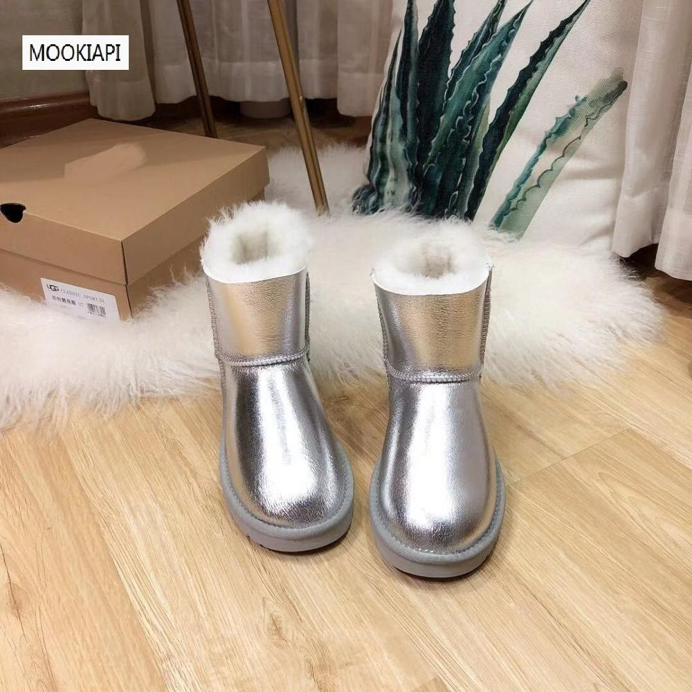 China's latest high-quality snow boots in 2019, real sheepskin, short-barreled women's shoes, natural wool, two colors