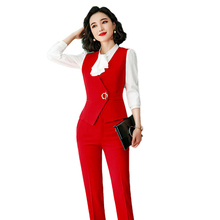 New Female Elegant Formal Office Work Wear OL Pant Suit Women Red Slim Sleeveless Vest Blazer And Pants For Ladies 2 Pieces Set adogirl work ol suit female sleeveless top and pant suit set female coat v neck sexy chic suit women office set 2 pieces outfits